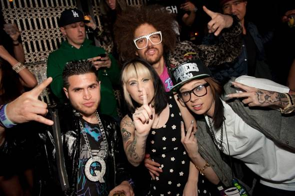 Kreayshawn and V Nasty with Redfoo and the Party Rock crew at LAVO