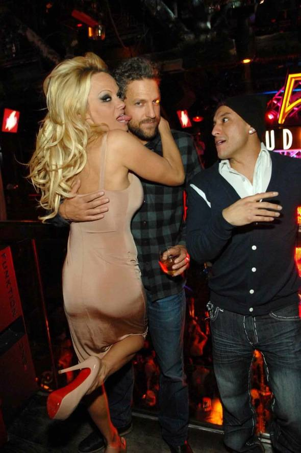 Pamela Anderson and Jon Rose at Studio 54 for New Year's Eve.