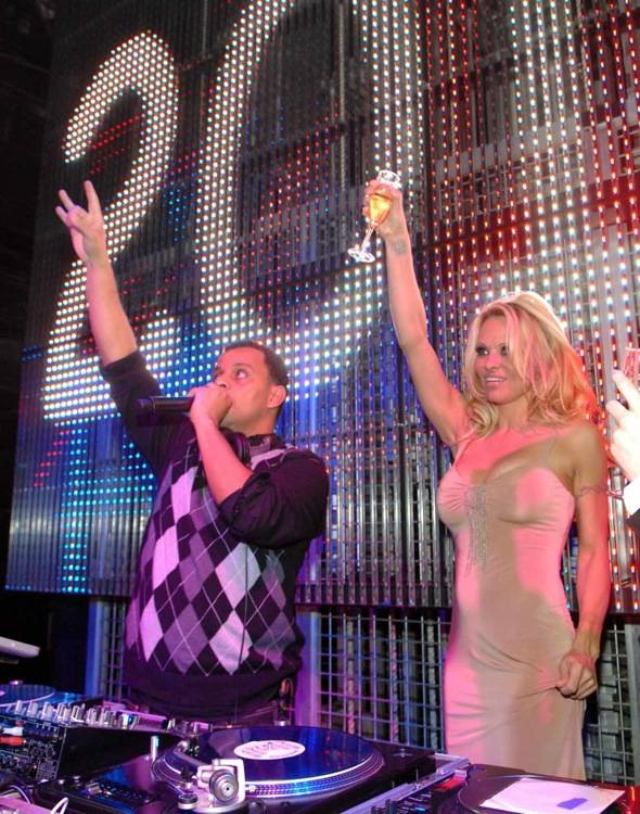 Pamela Anderson counts down the new year at Studio 54.