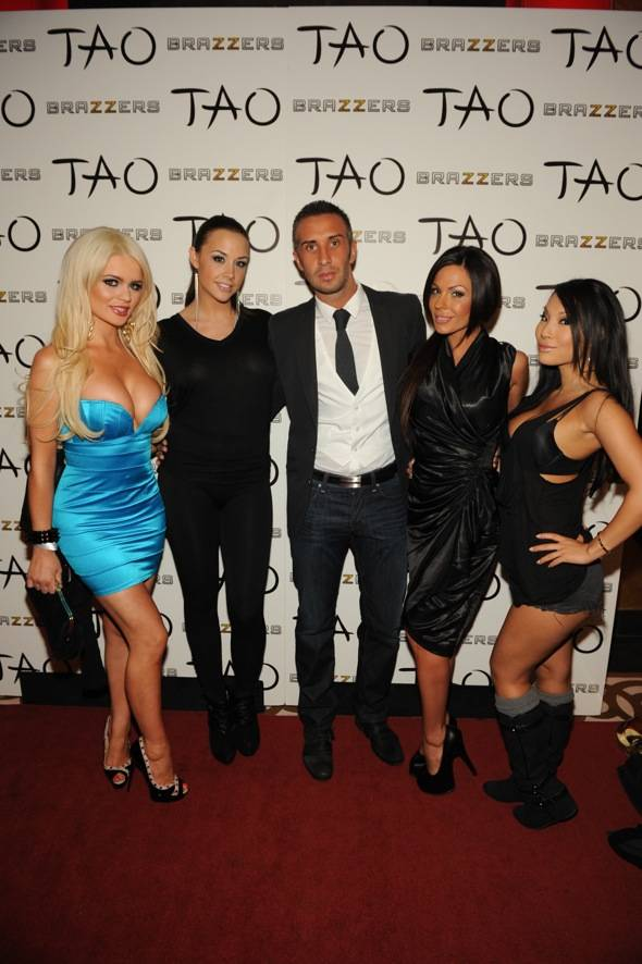 The stars of Brazzers, Alexis Ford, Chanel Preston, Keiran Lee, Kirsten Price, and Asa Akira at TAO