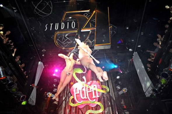 Adam and Eve aerialist routine at Studio 54, Las Vegas, 1.31.12 (2)