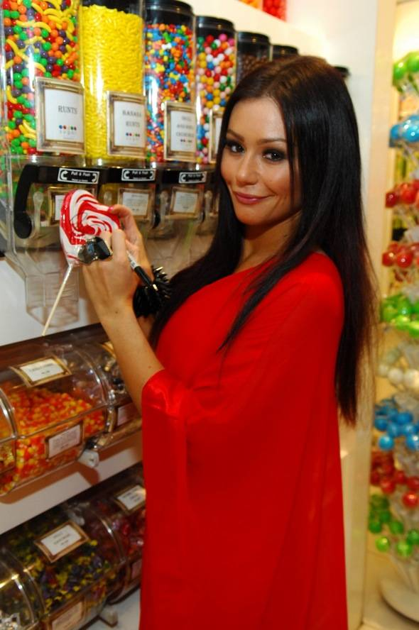 JWOWW autographs heart-shaped lollipop
