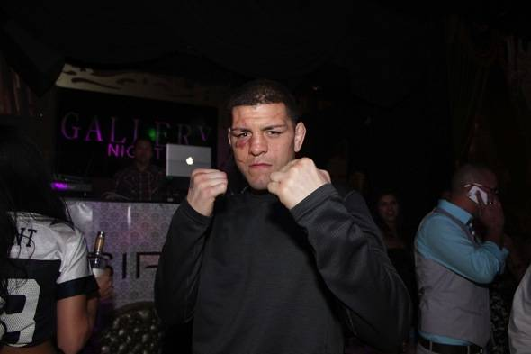 Nick Diaz puts fists up at Gallery Nightclub in Las Vegas