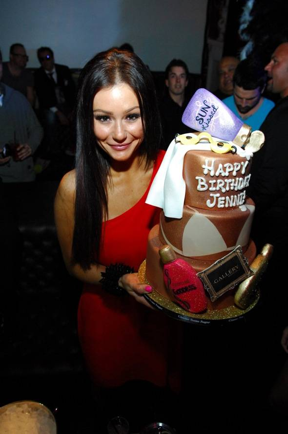 Solo of JWoww and her tanning themed birthday cake