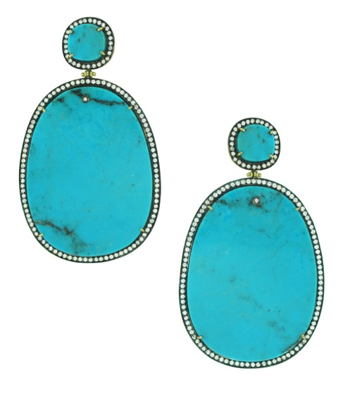 18 ct gold, Sleeping beauty turquoise and diamond earrings