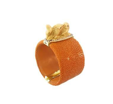 18 ct gold, diamond, turquoise,  jasper Ivory netsuke and galuchat bracelet