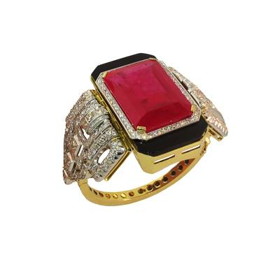 18 ct gold, onyx, diamond and ruby bracelet