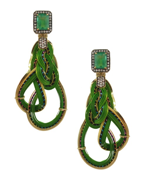 18 ct. gold, bamboo, emerald and diamond earrings