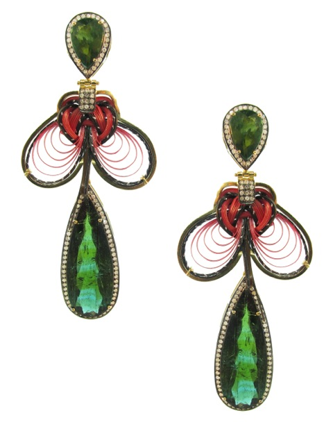 18 ct. gold, bamboo, green tourmaline and diamond earrings