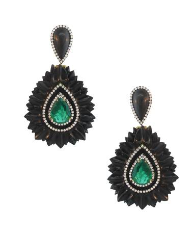 18 ct. gold, ebony, diamond and emerald earrings