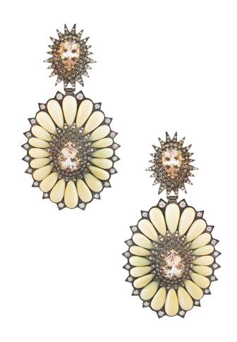 18 ct. gold, ivory, morganite and diamond earrings