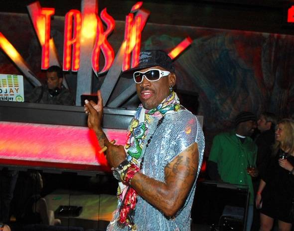 Dennis Rodman at a VIP table at Tabú Ultra Lounge at MGM Grand 3.17.12