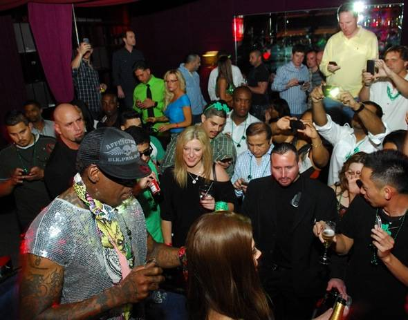 Dennis Rodman with fans inside Tabú Ultra Lounge at MGM Grand 3.17.12