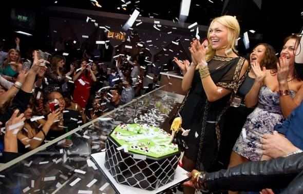 Laura Prepon_Bday Cake_Confetti_PURE Nightclub