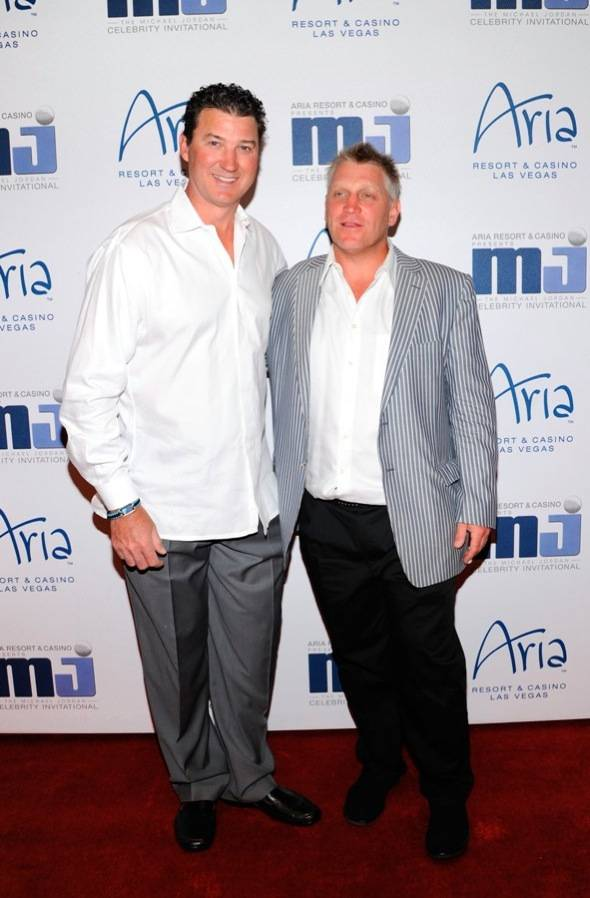 Mario Lemieux and Brett Hull on carpet at MJCI Celebration, Las Vegas, 3.30.12
