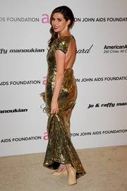 Carly Steel at the Elton John AIDS Foundation Academy Awards viewing party wearing the Aruna Seth 'Carly' wedges