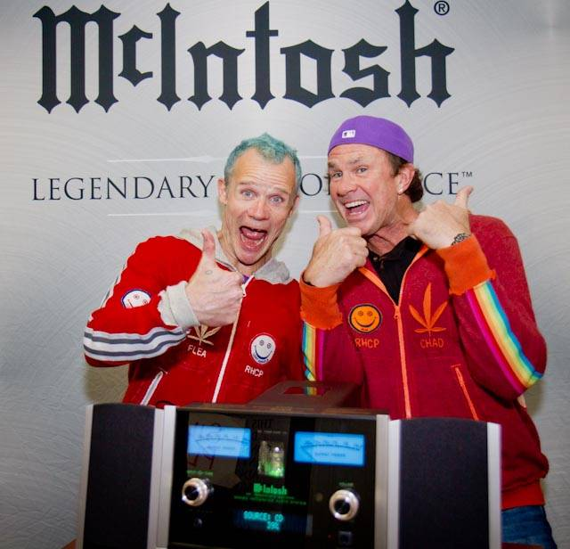 Red Hot Chili Peppers bassist Flea and drummer Chad Smith