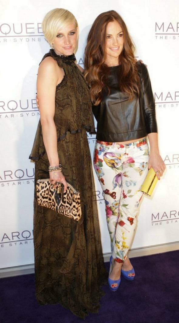 Ashlee Simpson and Minka Kelly on the red carpet at Marquee —The Star in Sydney, Australia