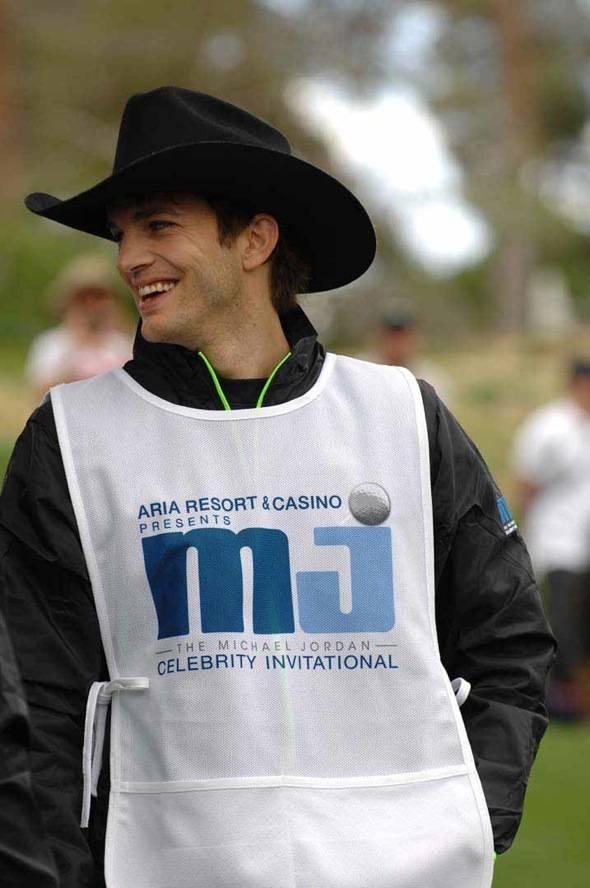 Ashton Kutcher as Michael Jordan's caddy at MJCI, Las Vegas, 4.1.12