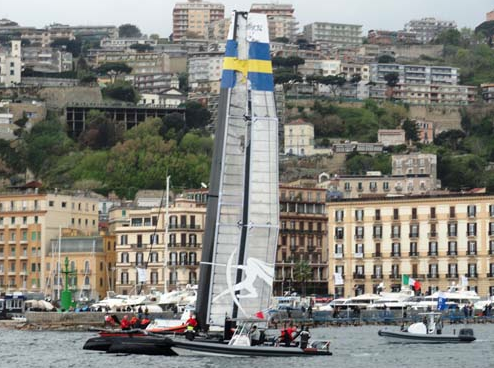 Capsized Team Sweden Artemis returned to port with broken wing.