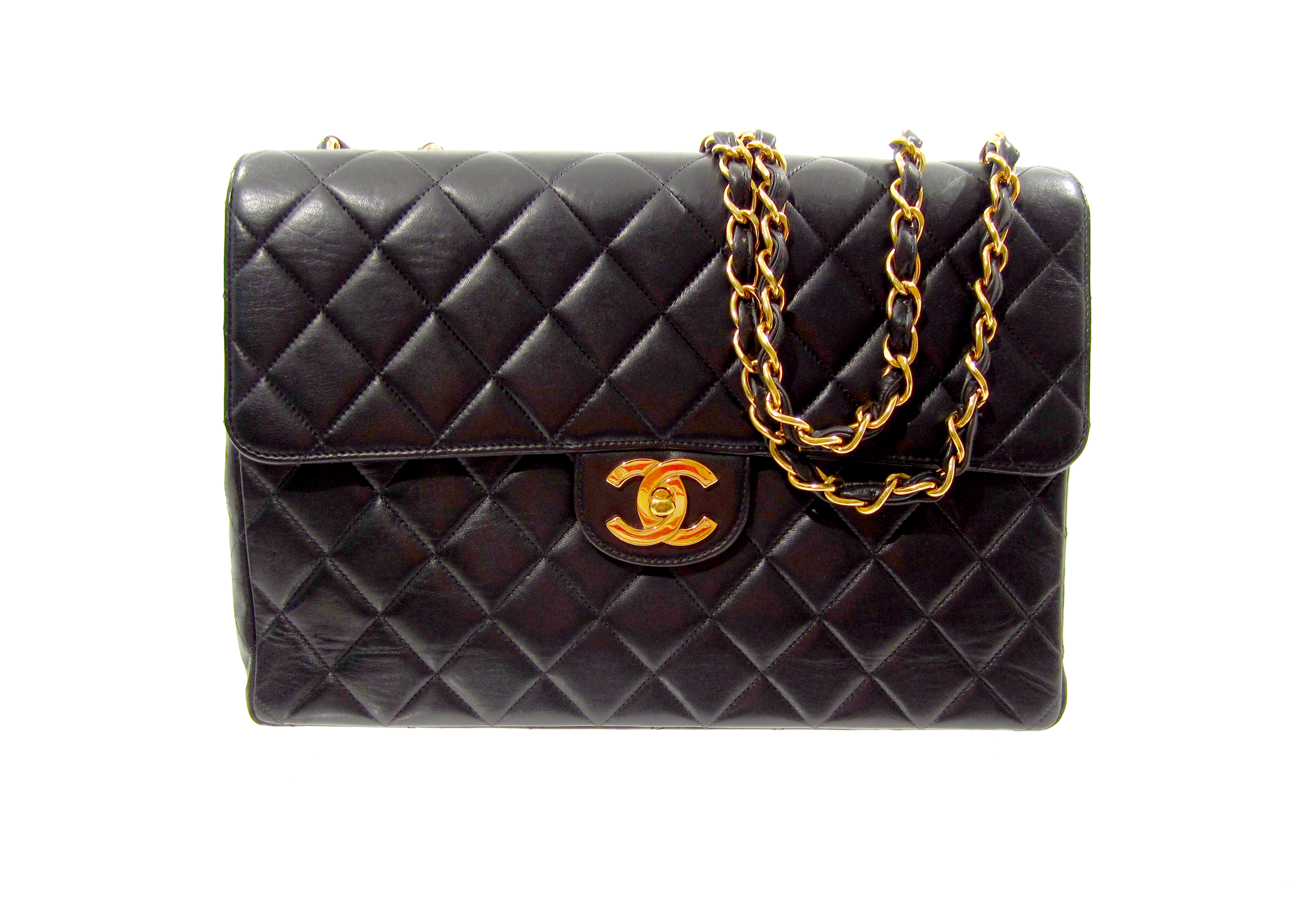 Chanel—Black Leather Quilted Jumbo Handbag–$4,100.00