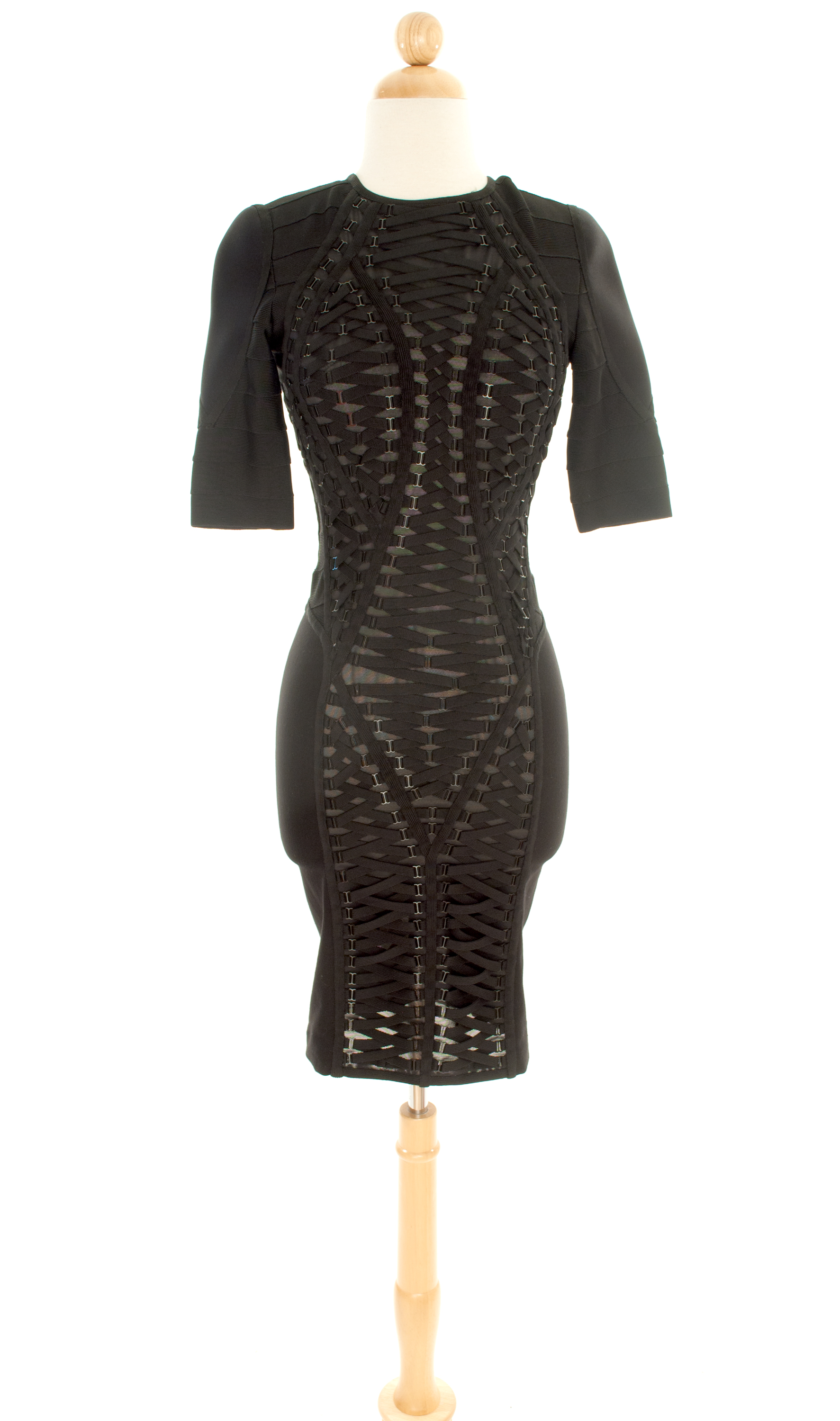Herve Leger—Black Lace-Up Panel Dress--$995.00