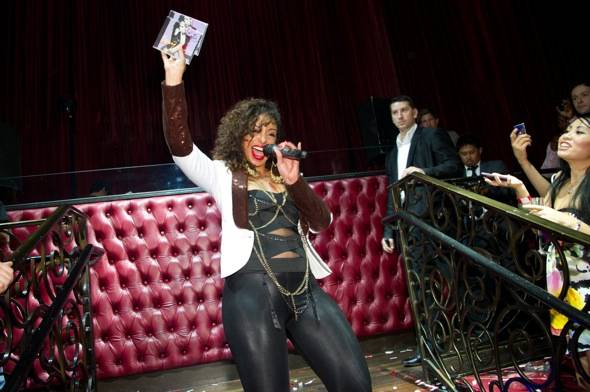 Performing artist, Mya, performs at LAX