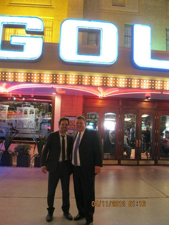Mark Ruffalo and Golden Gate co-owner Derek Stevens in front of Golden Gate Casino, Las Vegas, 4.10.12