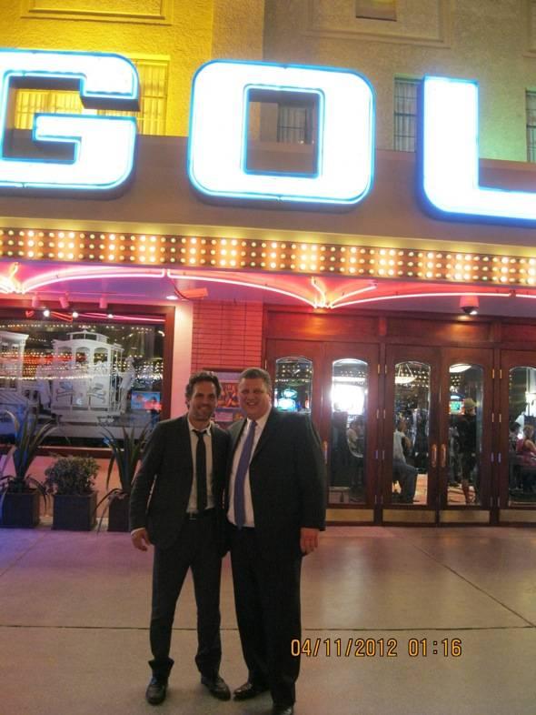 Mark Ruffalo and Golden Gate co-owner Derek Stevens in front of Golden Gate Casino, Las Vegas, 4.10.12
