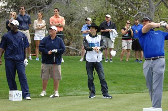 Michael Jordan, Brian Baumgartner, Ashton Kutcher and Aaron Rodgers at MJCI, Las Vegas, 4.1.12