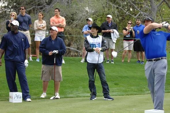 Michael Jordan, Brian Baumgartner, Ashton Kutcher and Aaron Rodgers at MJCI, Las Vegas, 4.1.12