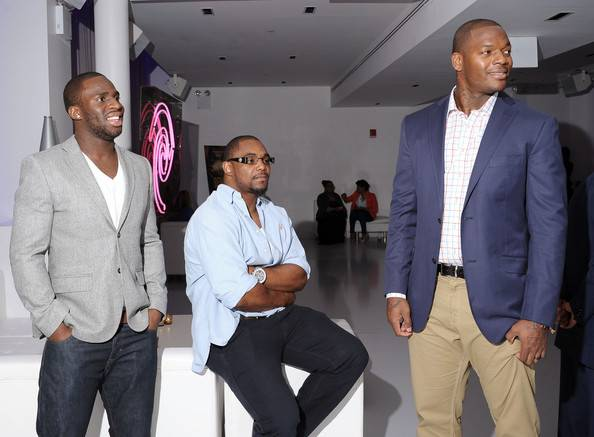 NFL players Prince Amukamara, Ahmad Bradshaw, and Martellus Bennett