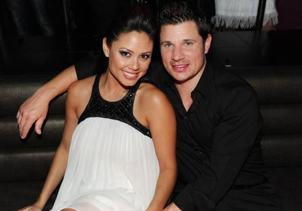 Vanessa and Nick Lachey chatting at Marquee — The Star in Sydney, Australia