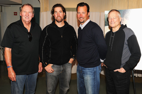 Former MLB player Charlie Hough, New York Mets pitcher R.A. Dickey, former MLB player Tim Wakefield and former MLB player Jim Bouton