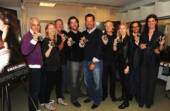 Director Anne Sundberg, former MLB player Charlie Hough, New York Mets pitcher R.A. Dickey, former MLB players Tim Wakefield, Jim Bouton, and director Ricki Stern