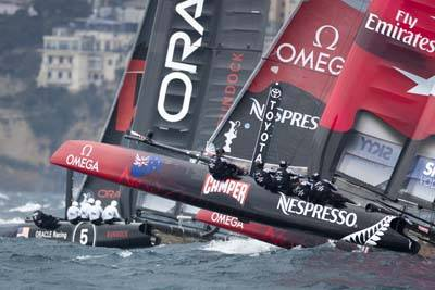 Team Emirates New Zealand caught up with Oracle Racing 5