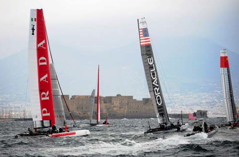 Team Prada's 2 boats, Oracle Bundock and Team China.