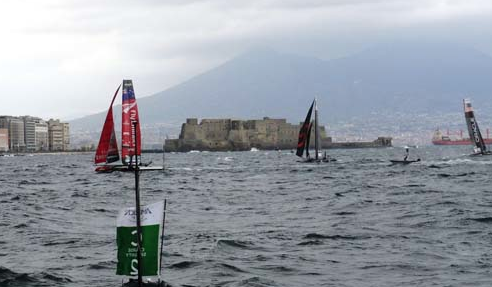Team Prada's 2 boats and Oracle Bundock and Team China.