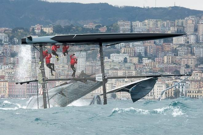 Team Sweden Artemis capsized on day-one the rough seas