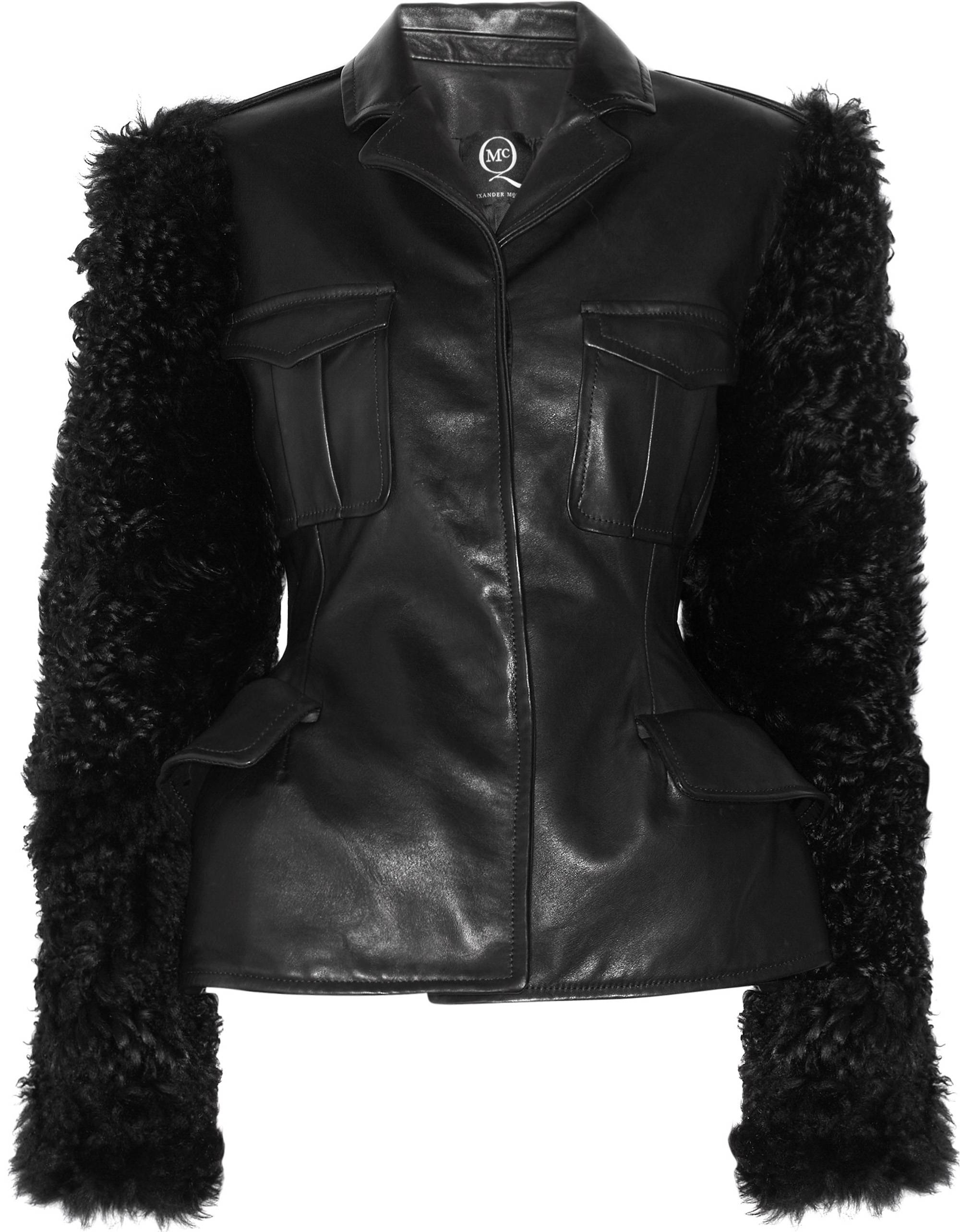 322568_McQ Alexander McQueen - Military Leather and Shearling Jacket NET-A-PORTER