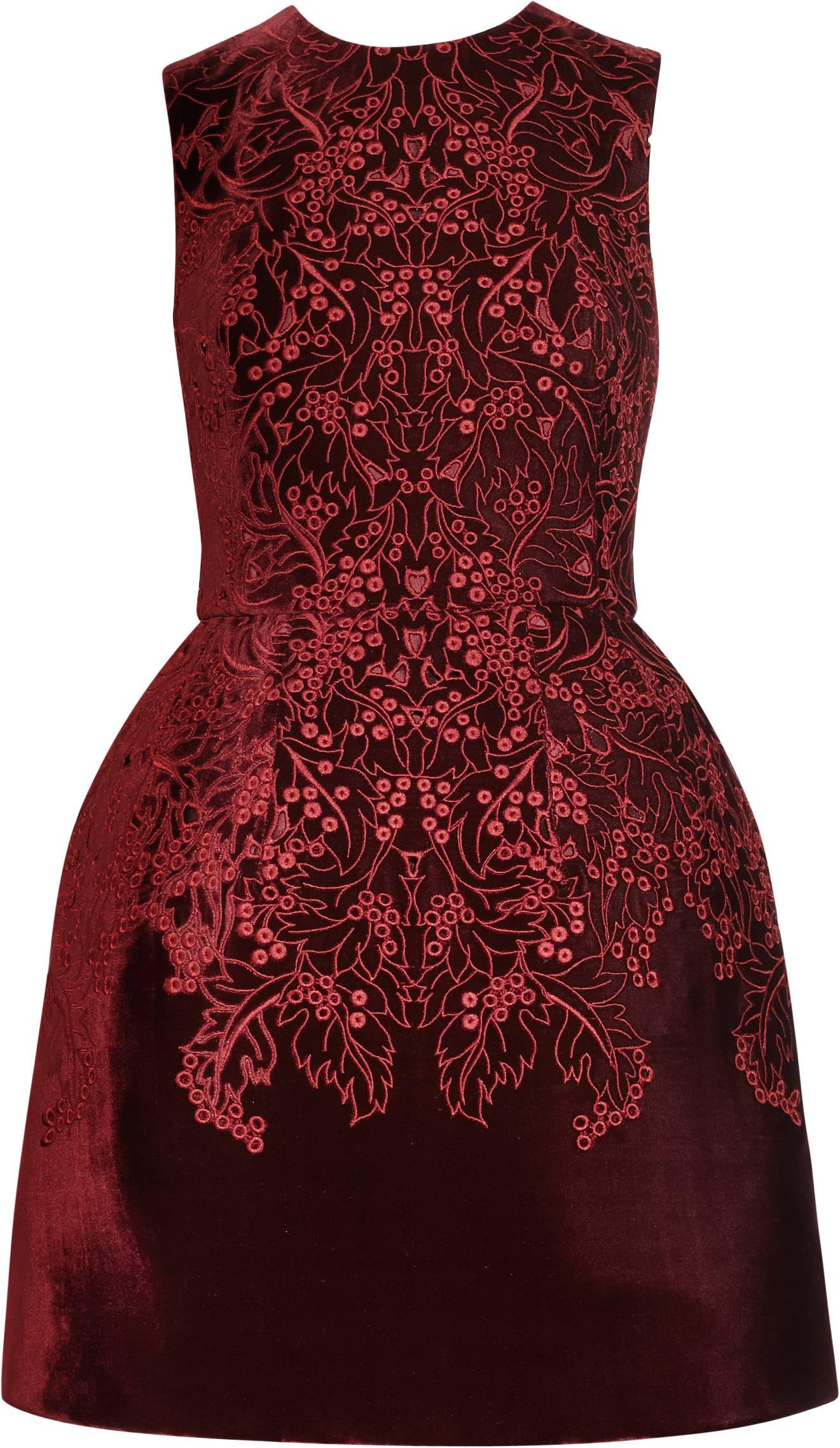 322570_McQ Alexander McQueen Red Velvet Dress - NET-A-PORTER