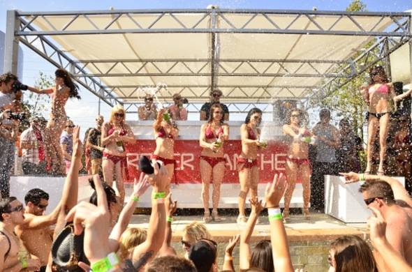 Champagne shower during DJ Roger Sanchez performance at Palms Pool & Bungalows 5.25.12