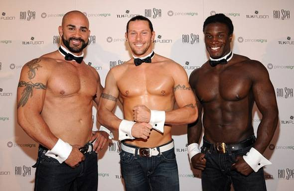 John Rivera, Jace Crispin and Chaun Thomas of the Chippendales