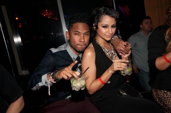R&B artist Miguel and his girlfriend Nazanin Mandi at Lavo