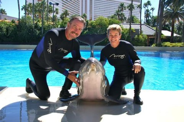 Bill & Gail Engvall with Maverick at Siegfried & Roy's Secret Garden and Dolphin Habitat 6.23.12