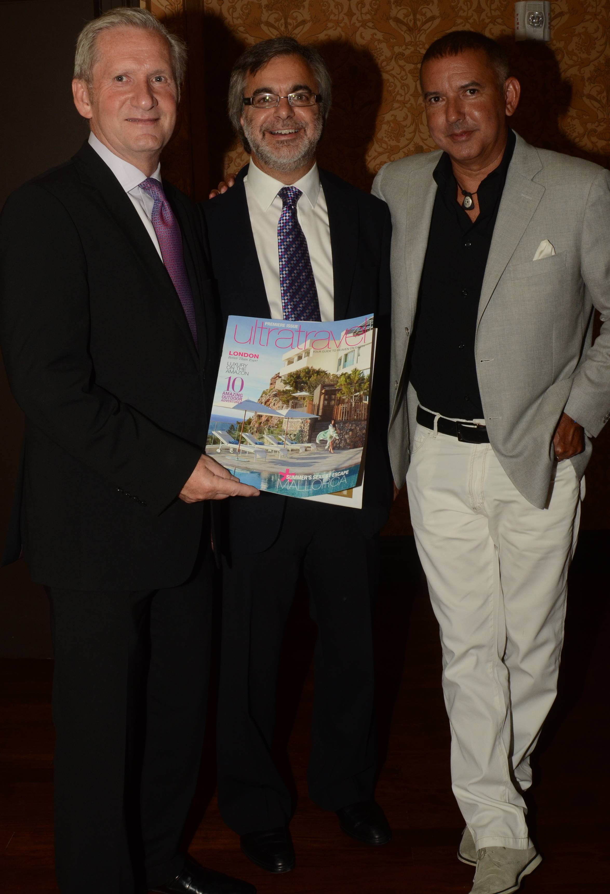 Mike Batt (Chairman of Travel Leaders Group), Nick Perry (Director of Ultratravel) + Carlos Suarez (Creative Director of Whitehaus Media Group) Attend U.S. Launch of Ultratravel Magazine