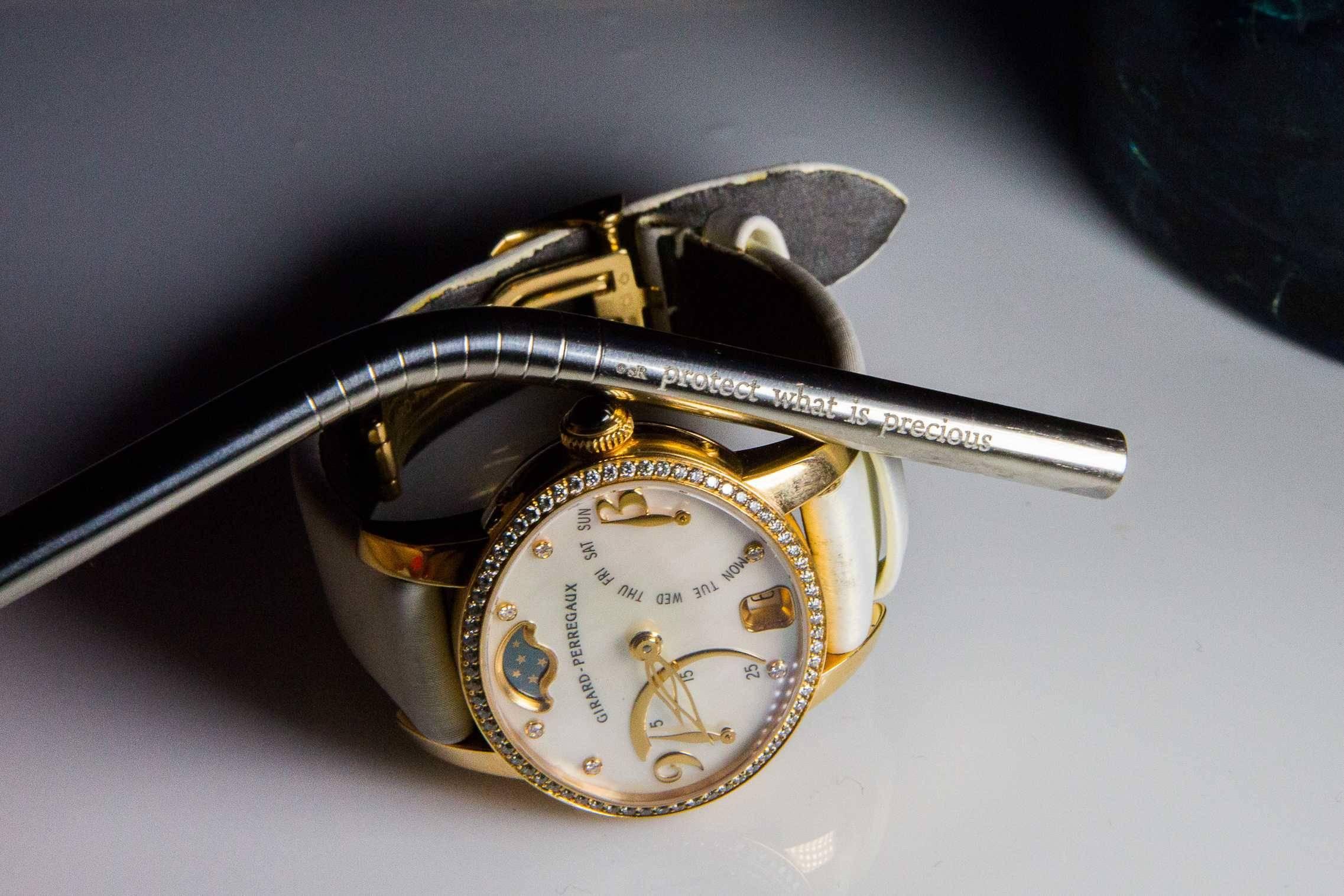 Susan Rockefeller Straw and Girard-Perregaux watch