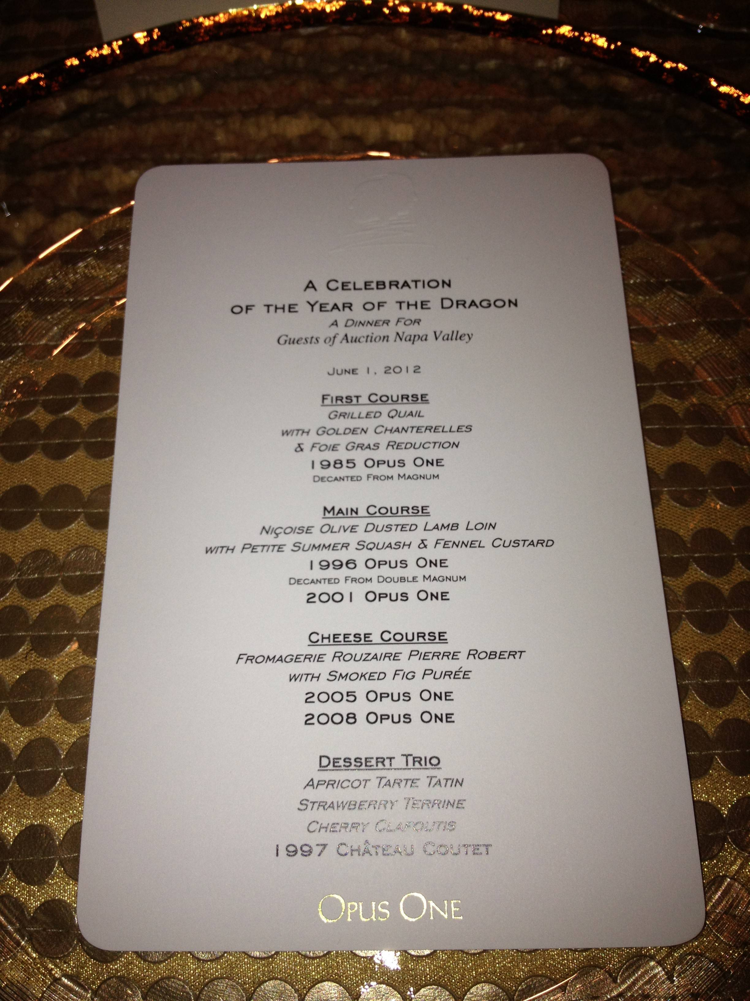 Opus One Menu