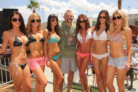 Chuck Liddell, Arianny Celeste, Brittney Palmer, Rachelle Leah, Kenda Perez, Chrissy Blair and Vanessa Hanson at Palms Pool & Bungalows in Las Vegas 7.5.12