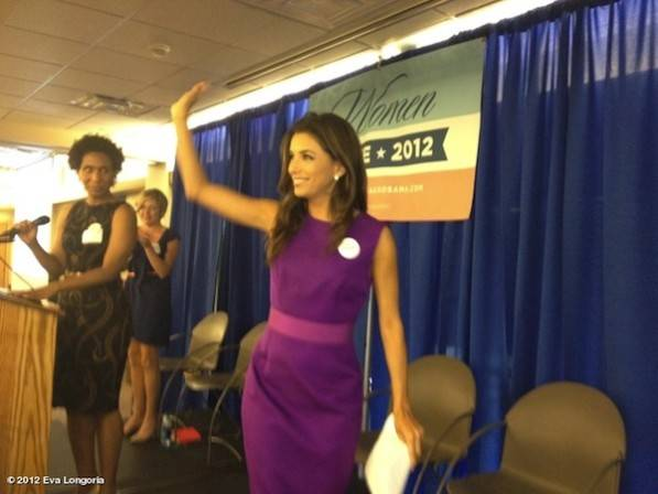 "In Denver, CO at the Women's Summit for Obama! Great crowd! Women will decide this election."" —Eva Longoria"
